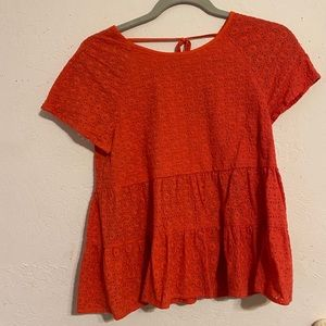 Lace peplum top with tie up back